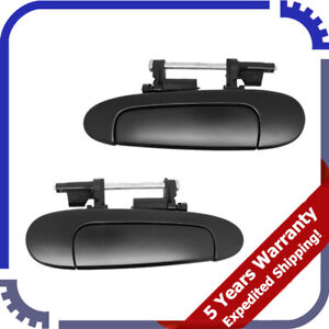 For 2000-2005 Toyota Echo Rear Left & Right Outside Door Handle Pair Black DS490