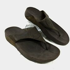 Women's FitFlop Flip Flop Sandals Chocolate Brown leather Walkstar 3 Sz 9