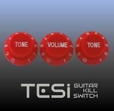 Tesi Stratocaster Knob Set - Red, White Ink