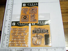 HALLOWEEN AUTUMN WORDS PUMPKIN LEAVES FALL STUDIO G CLEAR RUBBER STAMPS RETIRED