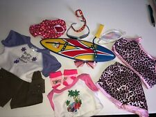 build a bear accessories lot pajamas, day clothes, sunglasses, surf board