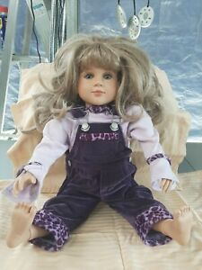 "My Twinn Doll 23"" Brunette Curly Hair Brown Eyes Green Floral Dress Shoes Socks"