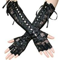 Women Sexy Length Lace Gloves Elbow Fingerless Lace Up Long Punk Club KV