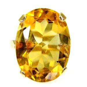 Vintage Huge Citrine 9ct Yellow Gold ring size J ~ 4 3/4