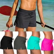 Women Full Coverage Swim Board Shorts Solid Color Drawstring Swimwear Stretchy