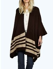 BROWN LOSES FITTING KIMONO LIKE STRIPE BLANKET CAPE CARDIGAN ONE SIZE16-18-20-22
