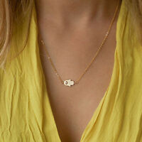 New Women Hamsa Fatima Hand God Evil Eye Pendant Gold Silver Chain Necklace