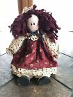 Vintage Rag Doll Wood Head & Body Hand Painted Cloth Legs And Arms Raggedy Ann