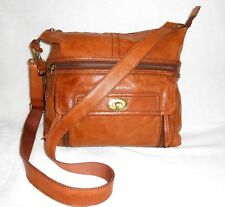FOSSIL BROWN LARGE LEATHER CROSS BODY/SHOULDER BAG, HANGING KEY, GORGEOUS!