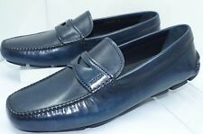 New Prada Mens Blue Shoes Drivers Calzature Uomo Size 8 Navy Loafers Leather