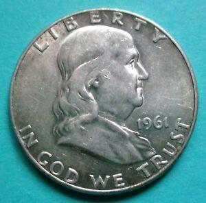 1961-D FRANKLIN HALF DOLLAR. 90% SILVER. RAW, UNCERTIFIED & CIRCULATED. (C)