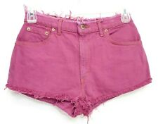 Vintage Levi's Womens Up-Cycled Pink Denim Raw Hem Light Jeans Shorts 30