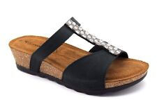 Tamaris Womens UK 5 EU 38 Black Wedge Heel Embellished Leather Sandals (BNIB)