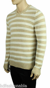 NEW MENS TOMMY HILFIGER V NECK STRIPED COTTON LINEN PULLOVER SWEATER $89