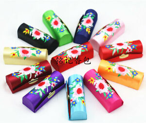 12x Chinese embroidered lipstick box in mirror jewelry storage small makeup box