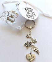 Keyring Best Friend - Tag gift charm heart flower handmade keepsake friendship
