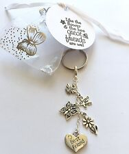 Keyring Best Friend - Tag Gift Charm Heart Flower Handmade Keepsake Friendship