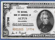 OK 1929 $20  TYPE-TWO ♚♚ ALTUS, OKLAHOMA ♚♚   AU++    HARD TO FIND!!!