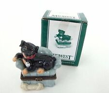 Midwest of Cannon Falls Porcelain Hinged Box Rottweiler Dog Trinket Box PHB