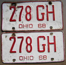 1968 OHIO LICENSE PLATE PAIR  # 278 GH