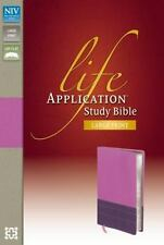 Life Application Study Bible by Zondervan (2013, Leather like)dk orchid/plum