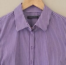 Sportscraft Shirt 10 lilac white striped button front tailored long sleeve work