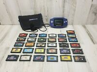 Nintendo Game Boy Advance Indigo Purple Handheld System with 31 games MINT!!