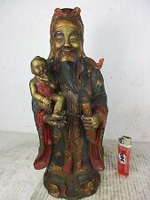 """Alter China Gott """"LU"""" für Glück & Wohlstand Happy Buddha original Bronze ~1965"""