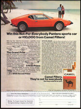 ADVERTISEMENT: 1973 CAMEL AD with PANTERA SPORTS CAR AUTOMOBILE ***** RARE *****