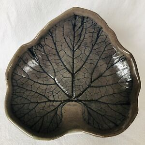 Studio Art Pottery Lily Pad Bowl Candy Nut Fruit Trinket Dish Handcrafted SIGNED