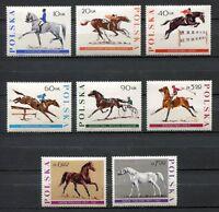 35765) Poland 1967 MNH Horses 8v. Scott #1474/81