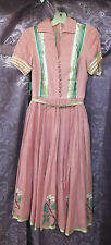 Rare 40s-50s Dusty Rose Dress w/Colorful Lame Trim, X Stitch Emb . & Belt  XS