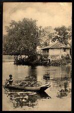 Ceylon Ethnic Vintage Postcard Villager in Canoe