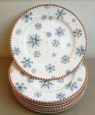 "Debbie Mumm Snowflake Dessert Salad Plates Blue White Plaid 8"" Diameter Set of 7"