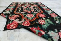 "Handmade Vintage Decorative Ethnic Caucasian Moldovan Kilim Area Rug 8'10''x5'4"""