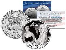 JAYNE MANSFIELD with SOPHIA LOREN Colorized JFK Kennedy Half Dollar U.S. Coin