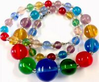 Vintage Colourful Graduating Glass Bead Necklace 16.5 Inches Long