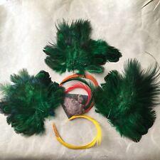 LOT Plumes Anciennes Vert Modiste Chapeau French Victorian Feathers Hat