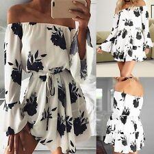 Womens Summer Casual Off Shoulder Party Evening Beach Dress Short Mini Dress L