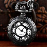 Vintage Black Hollow Pocket Watch Quartz Classic Necklace Pendant Chain Antique