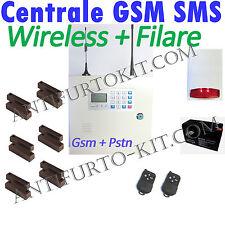 Kit Allarme Filare Sirena Wireless bidirezionale Centrale Antifurto Casa GSM Sms