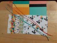 "Stampin Up! BIRTHDAY BONANZA  Designer Paper 6 X 6"" Card Kit Ribbon"