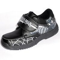 Spider Man Boys School Shoes, Childrens Velco Shoes - Black - Size 7-1