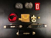 Vintage Boy Scouts Lot ~ Knives Patches Kerchief Clasp Tie Clip Eagle Cub Scout