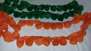 Vtg Halloween Craft Costume POM POM Trim 1 Green/1 Orange Each 4 ft Strands
