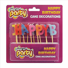 Happy Birthday Candles, Cake toppers. Candles spelling 'HAPPY BIRTHDAY'