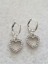 Delicate silver white gold plated multi crystal heart shape dangle earrings