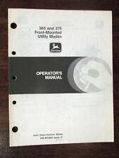 JOHN DEERE Operators Manual 365 & 375 Frount Mounted Tractor Utility Blades
