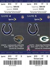 2012 NFL PACKERS & JAGUARS @ COLTS FULL UNUSED FOOTBALL TICKETS - ANDREW LUCK