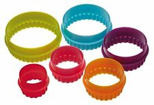 Colourworks Plastic Plain and Fluted Round Cookie Cutters, Multi-Colour, Set of
